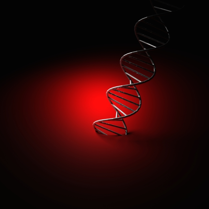 DNA helix under spotlight against red background