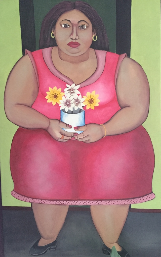 Painting of woman in pink dress holding yellow and white flowers