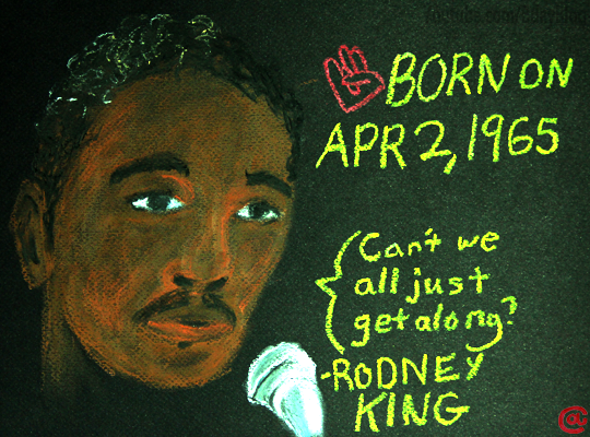 Rodney King caricature. He speaks into a mic